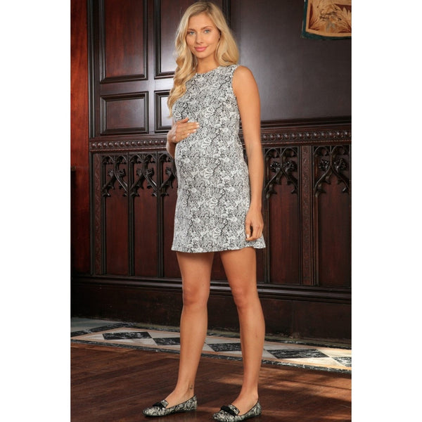 Black White Stretchy Sleeveless Trendy Shift Dress - Women Maternity