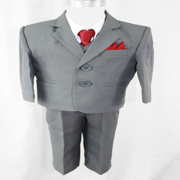 Baby Boys' Formal Suit - 5 Pieces - Grey