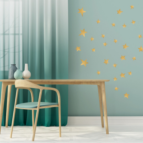 Gold Star Wall Stickers for Bedroom Nursery child's baby's room Playroom Easy Peal Budget Friendly