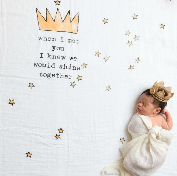 Coveted Things Crown Organic Swaddle Blanket, Swaddle, Coveted Things, nursery, kids, babies, presents, gifts - Home & Me