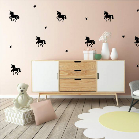PÖM le Bonhomme Black Unicorn Wall Stickers, , PÖM le Bonhomme, nursery, kids, babies, presents, gifts - Home & Me