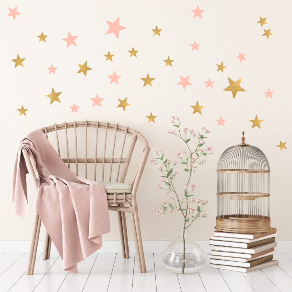... Gold And Pink Star Wall Stickers For Bedroom Nursery Childu0027s Babyu0027s  Room Playroom Easy Peal ...
