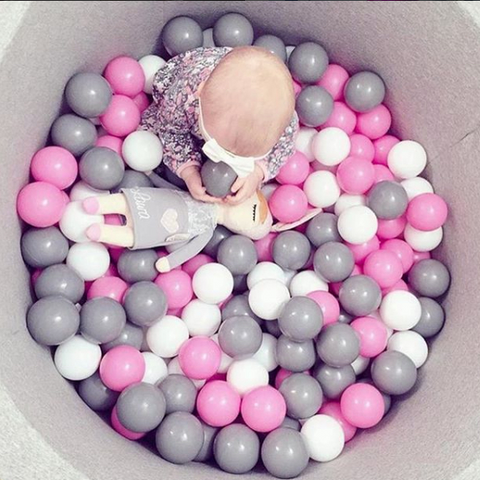 Misioo Grey Pink Foam Ball Pit perfect baby shower, birthday, christmas present gift for any toddler