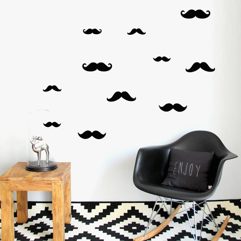 PÖM le Bonhomme Black Moustache Wall Stickers, Wall Decor, PÖM le Bonhomme, nursery, kids, babies, presents, gifts - Home & Me