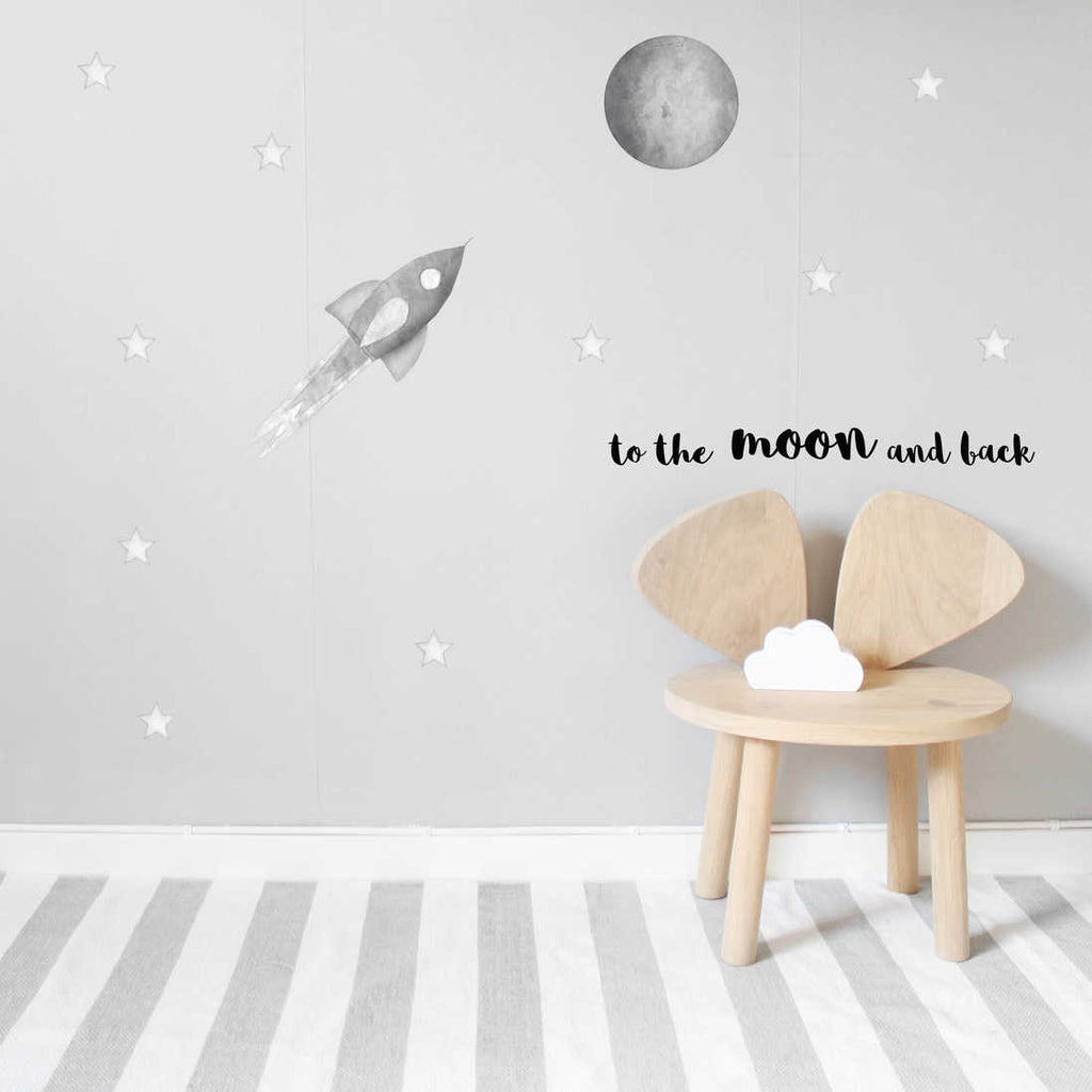 Stickstay Grey Moon Wall Stickers, Wall Decor, Stickstay, nursery, kids, babies, presents, gifts - Home & Me
