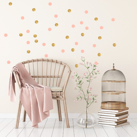 Gold and Pink Polka Dot Wall Stickers for Bedroom Nursery child's baby's room Playroom Easy Peal