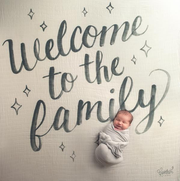 Coveted Things Welcome To The Family Organic Swaddle Blanket, Swaddle, Coveted Things, nursery, kids, babies, presents, gifts - Home & Me