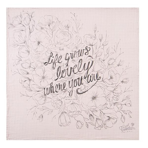 Coveted Things Life Grows Lovely Organic Swaddle Blanket, Swaddle, Coveted Things, nursery, kids, babies, presents, gifts - Home & Me