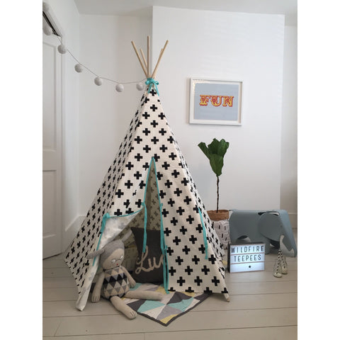 Wildfire Teepee Seafoam Cross Teepee, Playtime, Wildfire Teepee, nursery, kids, babies, presents, gifts - Home & Me