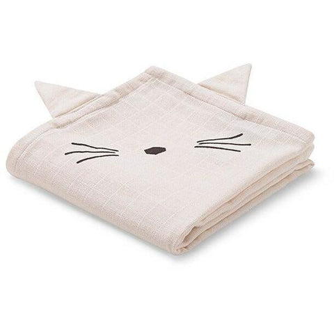 Liewood Pink Cat Muslin Cloth (2 Pack), Pamper and Care, Liewood, nursery, kids, babies, presents, gifts - Home & Me