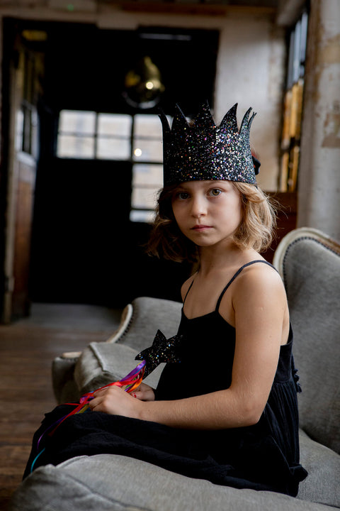 Sparkle Child - Black Glitter Crown, Dress Up, Sparkle Child, nursery, kids, babies, presents, gifts - Home & Me