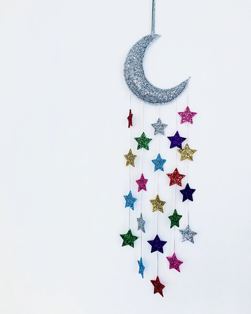Sparkle Child - Silver Moon Star Rainbow Cloud Decor, Decor, Sparkle Child, nursery, kids, babies, presents, gifts - Home & Me