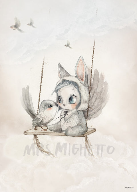 Mrs Mighetto Land of Birds 'Mini Bird Master', Wall Art, Mrs Mighetto, nursery, kids, babies, presents, gifts - Home & Me