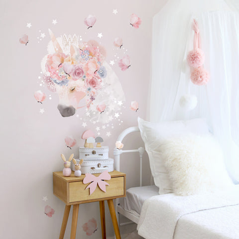 The Wallpaper Company Unicorn and Butterflies, Wall Stickers, The Wallsticker Company, nursery, kids, babies, presents, gifts - Home & Me