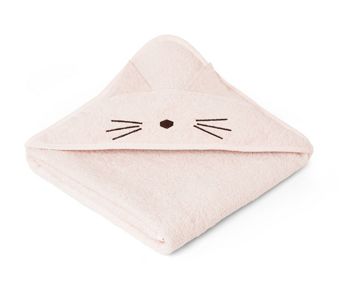 Liewood Pink Cat Hooded Towel, Pamper and Care, Liewood, nursery, kids, babies, presents, gifts - Home & Me