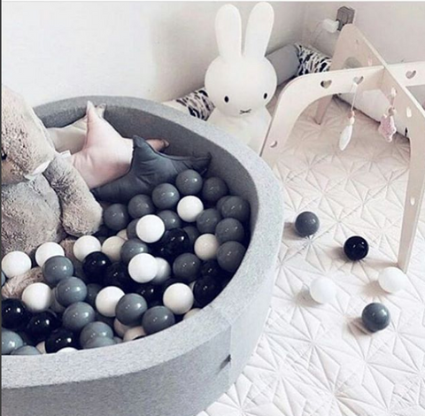 Meow Grey Foam Ball Pit: Monochrome Black, White and Grey Balls, Ball Pit, Meow, nursery, kids, babies, presents, gifts - Home & Me