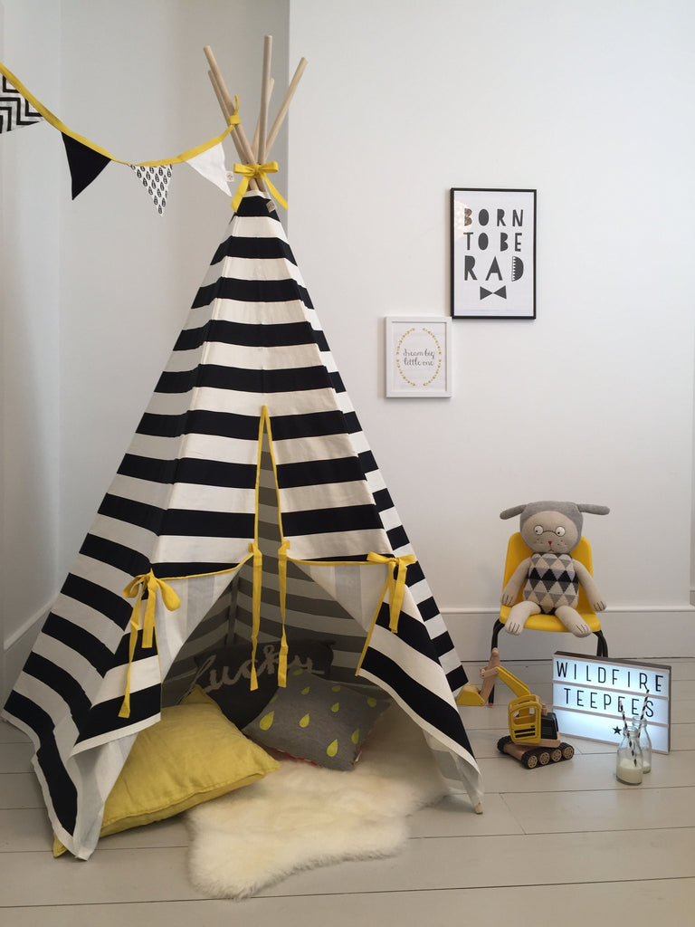 Wildfire Teepee Yellow Stripe Wildfire Teepee, Playtime, Wildfire Teepee, nursery, kids, babies, presents, gifts - Home & Me