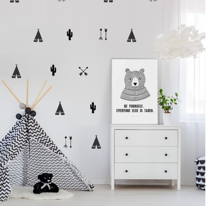 newest collection 06fc9 b7645 PÖM le Bonhomme Black Teepee, Arrow and Cactus Wall Stickers - Home & Me