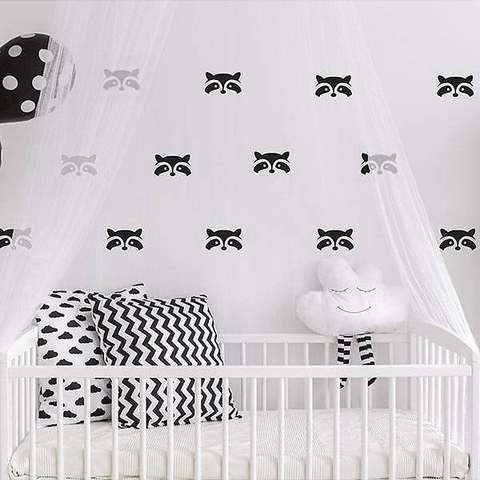 PÖM le Bonhomme Black Racoon Stickers, Wall Decor, PÖM le Bonhomme, nursery, kids, babies, presents, gifts - Home & Me