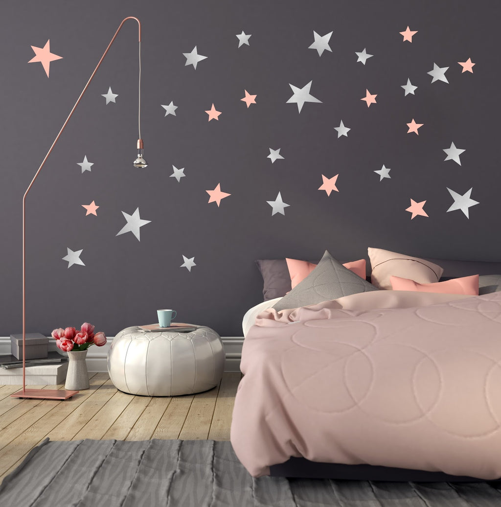 PÖM le Bonhomme Silver and Pink Star Wall Stickers, Wall Decor, PÖM le Bonhomme, nursery, kids, babies, presents, gifts - Home & Me
