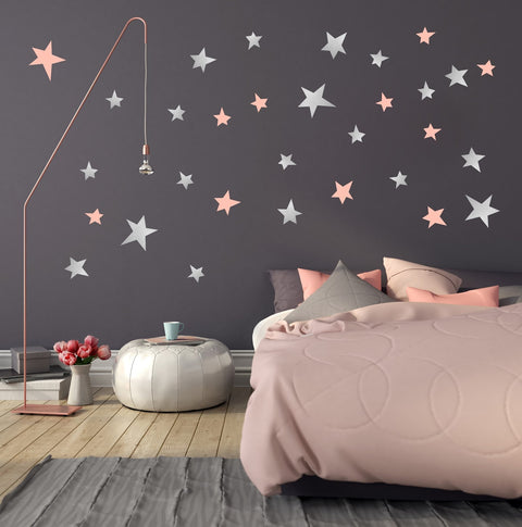 Silver and Pink Wall Stickers for Bedroom Nursery child's baby's room Playroom Easy Peal