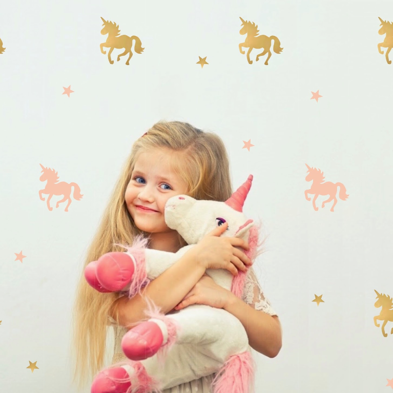 PÖM le Bonhomme Gold and Pink Unicorn and Star Wall Stickers, , PÖM le Bonhomme, nursery, kids, babies, presents, gifts - Home & Me