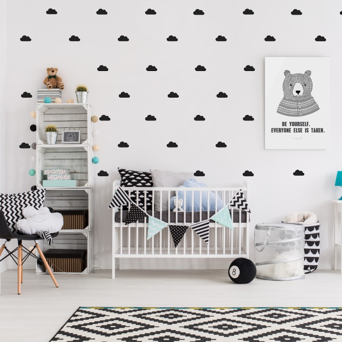 black cloud wall stickers for baby toddler child bedroom or nursery