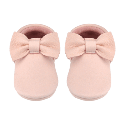 Blush Pink Bow Moccasin Little Lambo, Shoes, Little Lambo, nursery, kids, babies, presents, gifts - Home & Me