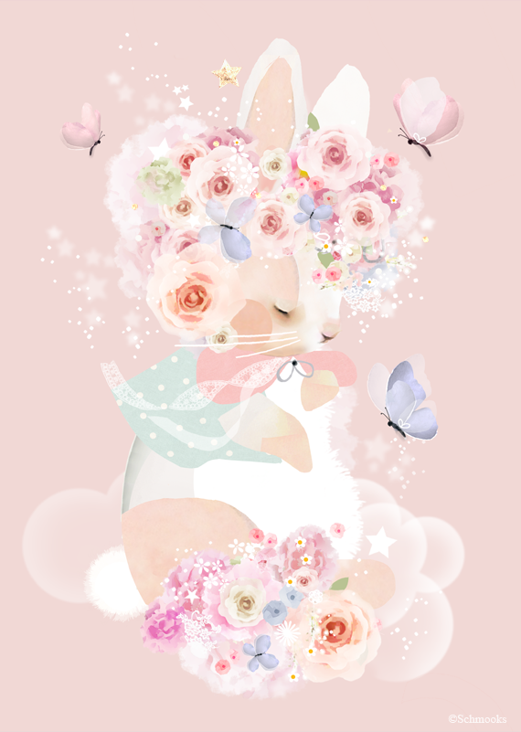 Schmooks - Rose for Bunny, Wall Art, Schmooks, nursery, kids, babies, presents, gifts - Home & Me