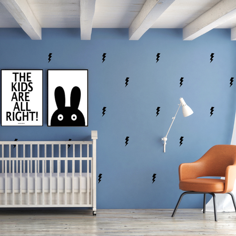 PÖM le Bonhomme Black Lightening Bolt Stickers, Wall Stickers, PÖM le Bonhomme, nursery, kids, babies, presents, gifts - Home & Me