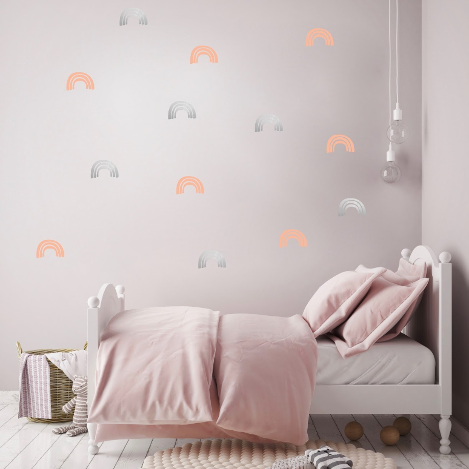 PÖM le Bonhomme Silver and Pink Rainbow Wall Stickers, Wall Decor, PÖM le Bonhomme, nursery, kids, babies, presents, gifts - Home & Me