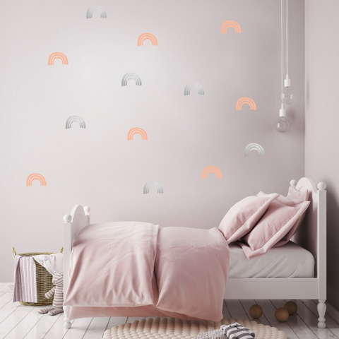 PÖM le Bonhomme Pink and Silver Rainbow Wall Stickers, Wall Decor, PÖM le Bonhomme, nursery, kids, babies, presents, gifts - Home & Me