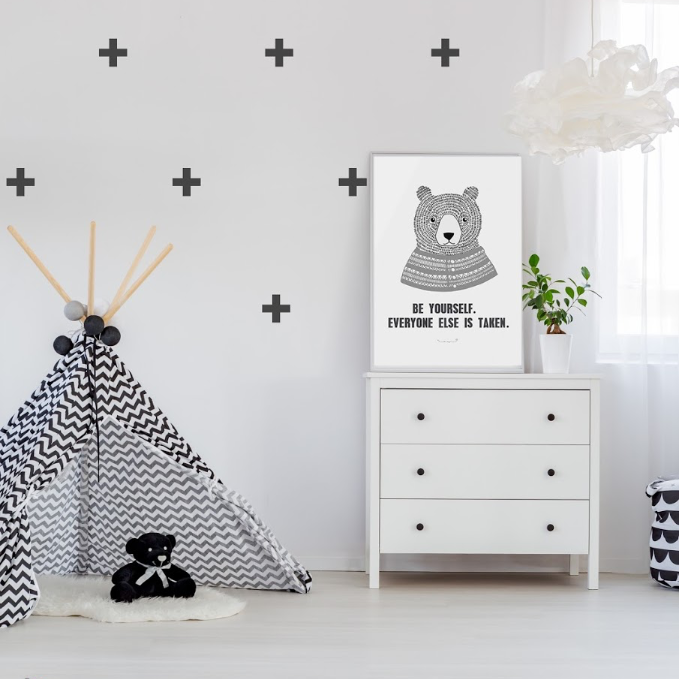 PÖM le Bonhomme Black Cross Wall Stickers, Wall Decor, PÖM le Bonhomme, nursery, kids, babies, presents, gifts - Home & Me