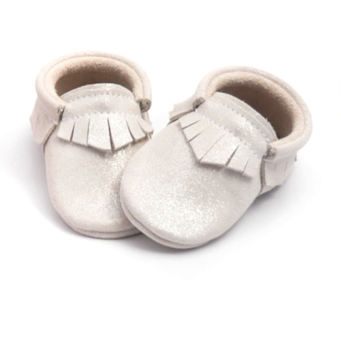 Cinderella White Fringe Moccasin Little Lambo, Shoes, Little Lambo, nursery, kids, babies, presents, gifts - Home & Me