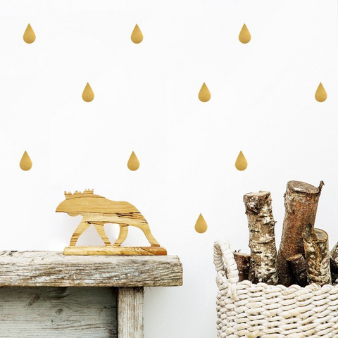 PÖM le Bonhomme Gold Raindrops Wall Stickers, Wall Decor, PÖM le Bonhomme, nursery, kids, babies, presents, gifts - Home & Me