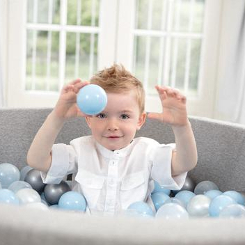 Meow Grey Foam Ball Pit: Baby Blue, Grey, Translucent Balls, Ball Pit, Meow, nursery, kids, babies, presents, gifts - Home & Me