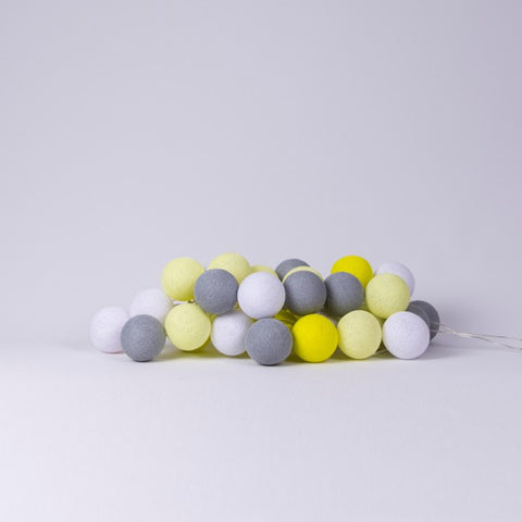 Cotton Ball Lights Yellow & Grey Cotton Ball Lights, Lighting, Cotton Ball Lights, nursery, kids, babies, presents, gifts - Home & Me