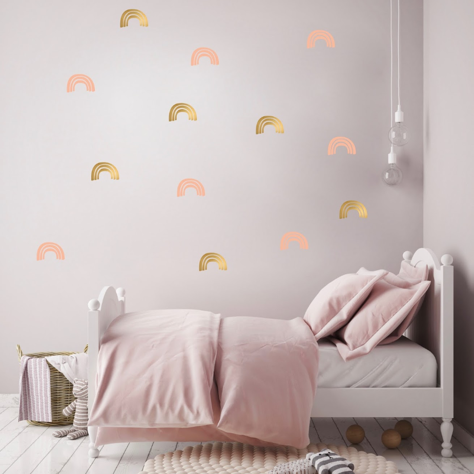 PÖM le Bonhomme Gold and Pink Rainbow Wall Stickers, Wall Decor, PÖM le Bonhomme, nursery, kids, babies, presents, gifts - Home & Me