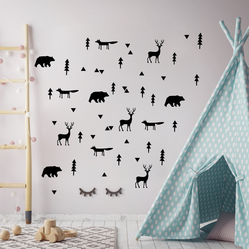 PÖM le Bonhomme Black Forest Animal Stickers, Wall Decor, PÖM le Bonhomme, nursery, kids, babies, presents, gifts - Home & Me
