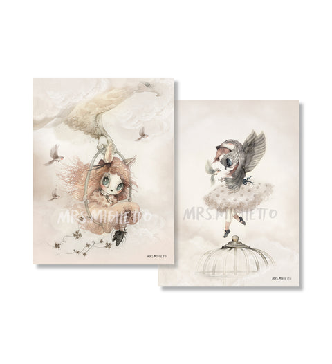 "Mrs Mighetto Land of Birds ""2 Pack Sofia/Annie, Wall Art, Mrs Mighetto, nursery, kids, babies, presents, gifts - Home & Me"