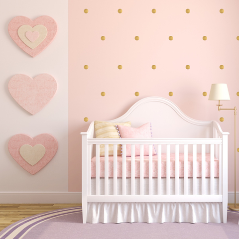 Gold Polka Dot Wall Stickers for Bedroom Nursery child's baby's room Playroom Easy Peal