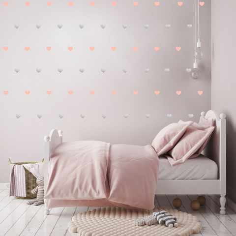 PÖM le Bonhomme Silver and Pink Heart Wall Stickers, Wall Stickers, PÖM le Bonhomme, nursery, kids, babies, presents, gifts - Home & Me