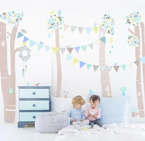 Mint-Blue Forest Scene Wall Stickers for Baby or Kids Bedroom Nursery playroom. Easy peal