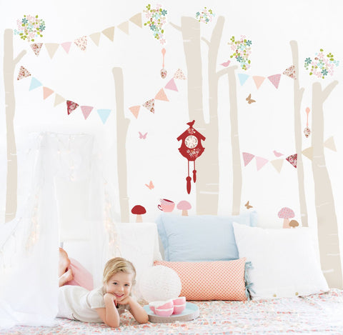 Pink Forest Scene Wall Stickers for Baby or Kids Bedroom Nursery playroom. Easy peal budget friendly