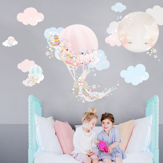 Pink balloon cloud wall stickers for baby or kids bedroom nursery easy peal budget friendly