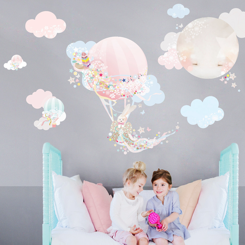 Pink Balloon Cloud Wall Stickers for Baby or Kids Bedroom Nursery. Easy peal budget friendly