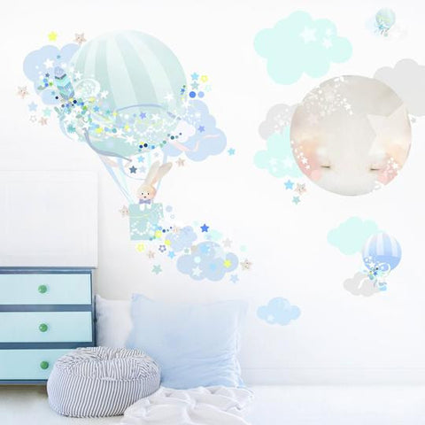 Mint- Blue Balloon Cloud Wall Stickers for Baby or Kids Bedroom Nursery playroom. Easy peal