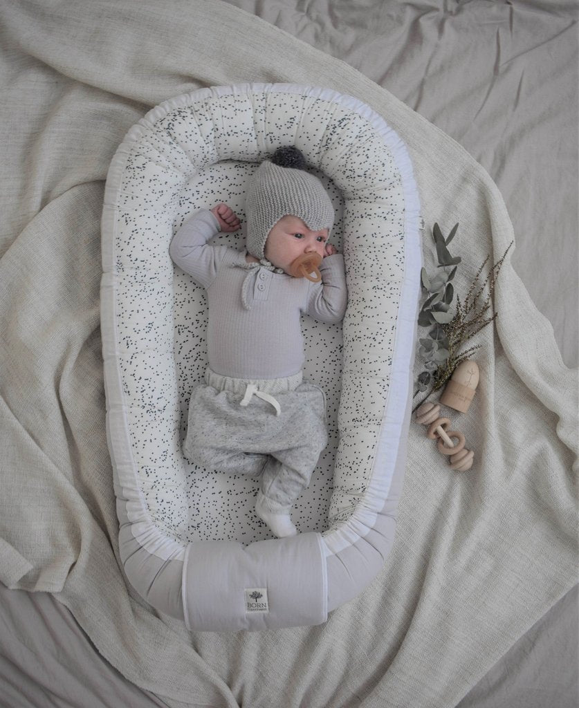 Born Copenhagen  Babynest - Grey and White Midnight Dust, Babynest, BORN Copenhagen, nursery, kids, babies, presents, gifts - Home & Me