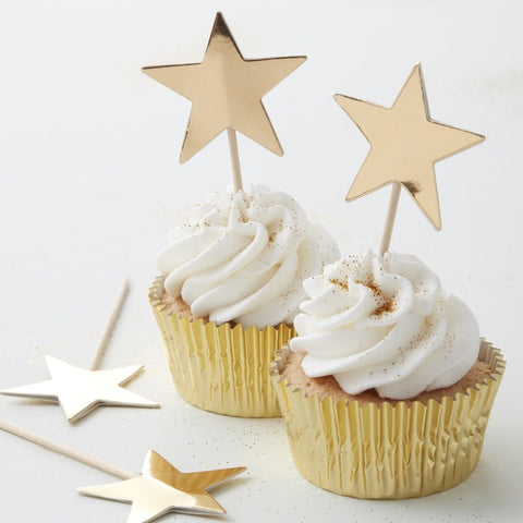 Ginger Ray - Gold Foiled Star Cupcake Star Toppers, Party Decor, Ginger Ray, nursery, kids, babies, presents, gifts - Home & Me