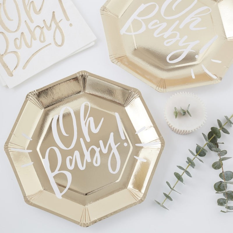 Ginger Ray - Gold Foiled Oh Baby! Paper Plates, Party Decor, Ginger Ray, nursery, kids, babies, presents, gifts - Home & Me